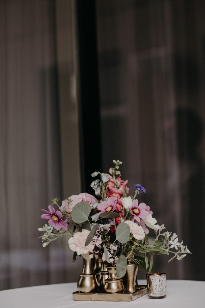 Pink, White, and Purple Wedding Flowers Gold Vase: Hip Pink & Blue Rooftop Wedding at Hotel Monaco from Rachel Rowland Photography featured on Burgh Brides
