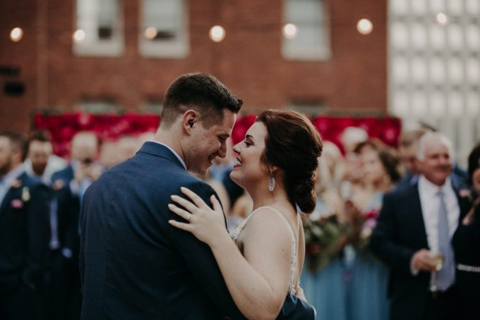 Bride and Groom First Dance: Hip Pink & Blue Rooftop Wedding at Hotel Monaco from Rachel Rowland Photography featured on Burgh Brides