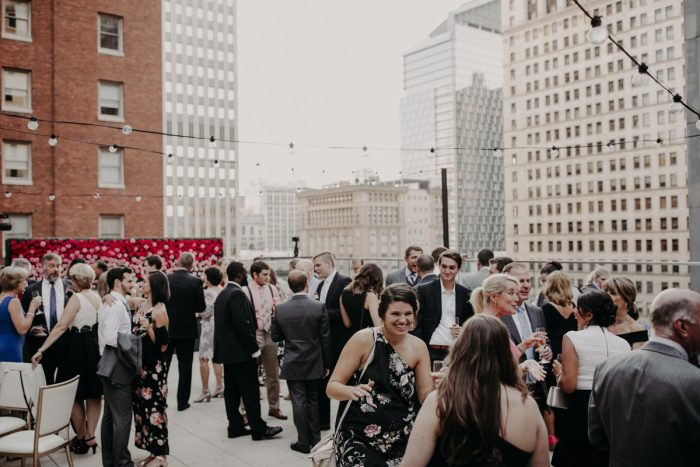 Rooftop Wedding Reception: Hip Pink & Blue Rooftop Wedding at Hotel Monaco from Rachel Rowland Photography featured on Burgh Brides