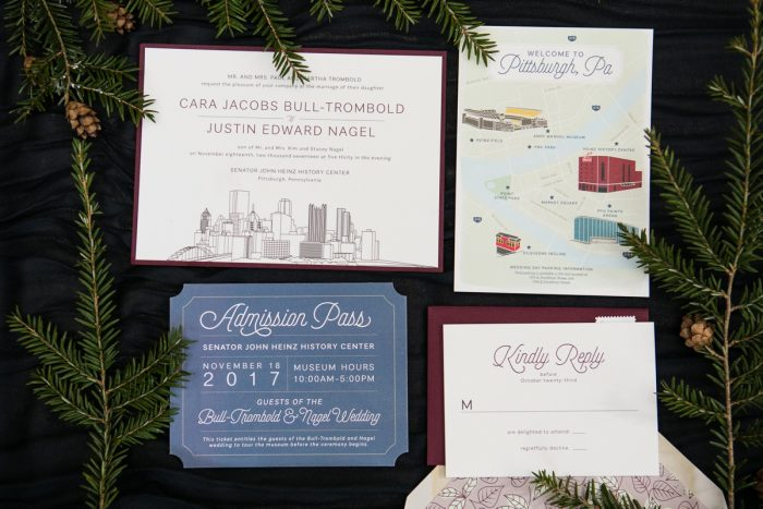 Wedding Invitations with Pittsburgh Skyline: Lush Blue & Burgundy Wedding at the Heinz History Center from Christina Montemurro Photography featured on Burgh Brides