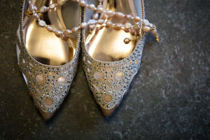 Beaded Silver Badgley Mischka Wedding Shoes: Lush Blue & Burgundy Wedding at the Heinz History Center from Christina Montemurro Photography featured on Burgh Brides
