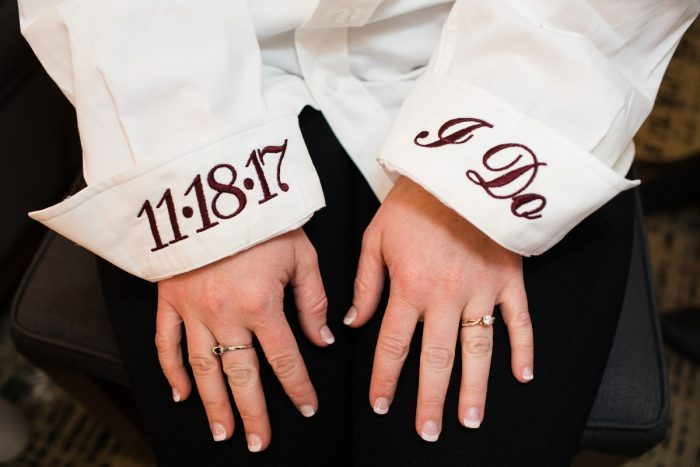 "Embroidered Button Down Shirt with Wedding Date and ""I Do"": Lush Blue & Burgundy Wedding at the Heinz History Center from Christina Montemurro Photography featured on Burgh Brides"