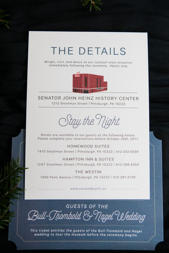 Classic Wedding Invitations with Blue and Burgundy Ink: Lush Blue & Burgundy Wedding at the Heinz History Center from Christina Montemurro Photography featured on Burgh Brides
