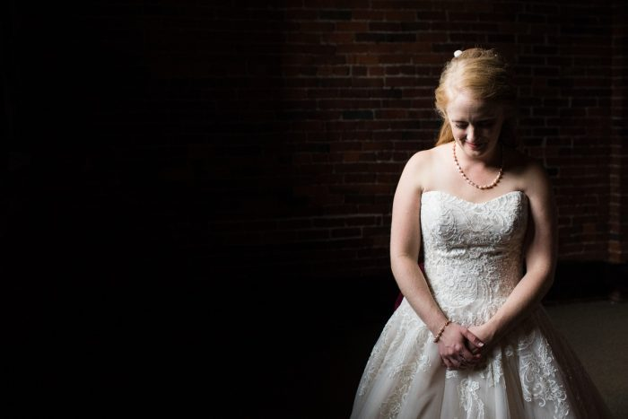 Bride in Sweetheart Neck Lace Wedding Ballgown: Lush Blue & Burgundy Wedding at the Heinz History Center from Christina Montemurro Photography featured on Burgh Brides