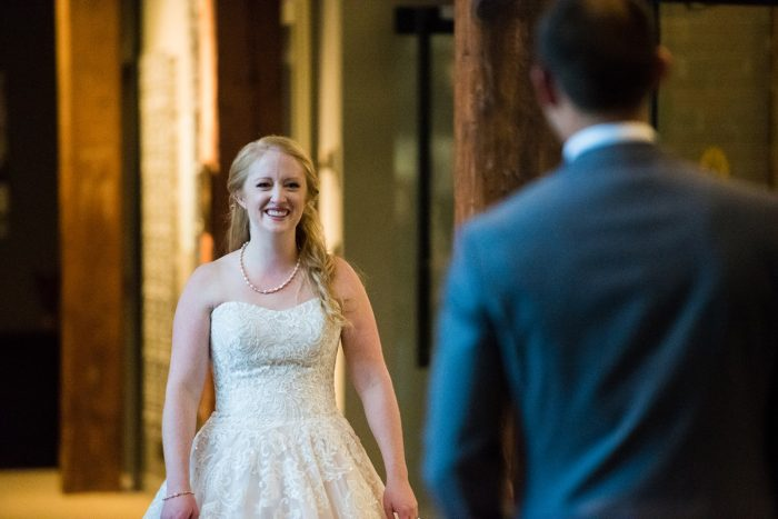 Bride and Groom First Look Session: Lush Blue & Burgundy Wedding at the Heinz History Center from Christina Montemurro Photography featured on Burgh Brides