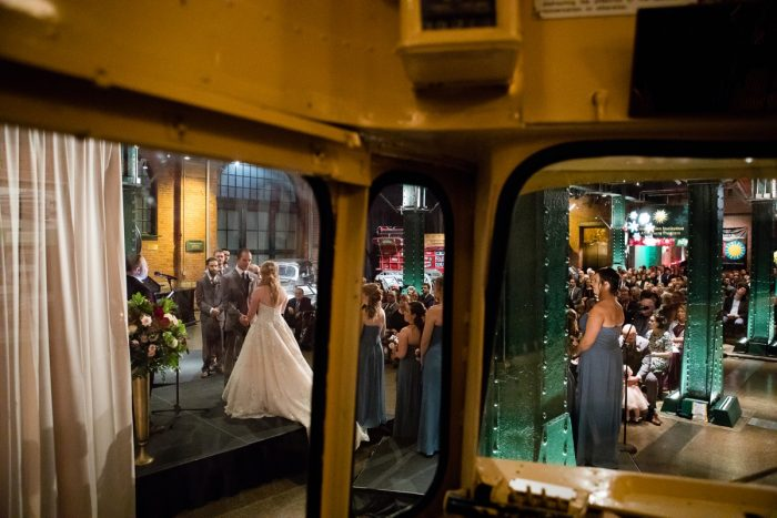 Wedding Ceremony at Heinz History Center: Lush Blue & Burgundy Wedding at the Heinz History Center from Christina Montemurro Photography featured on Burgh Brides