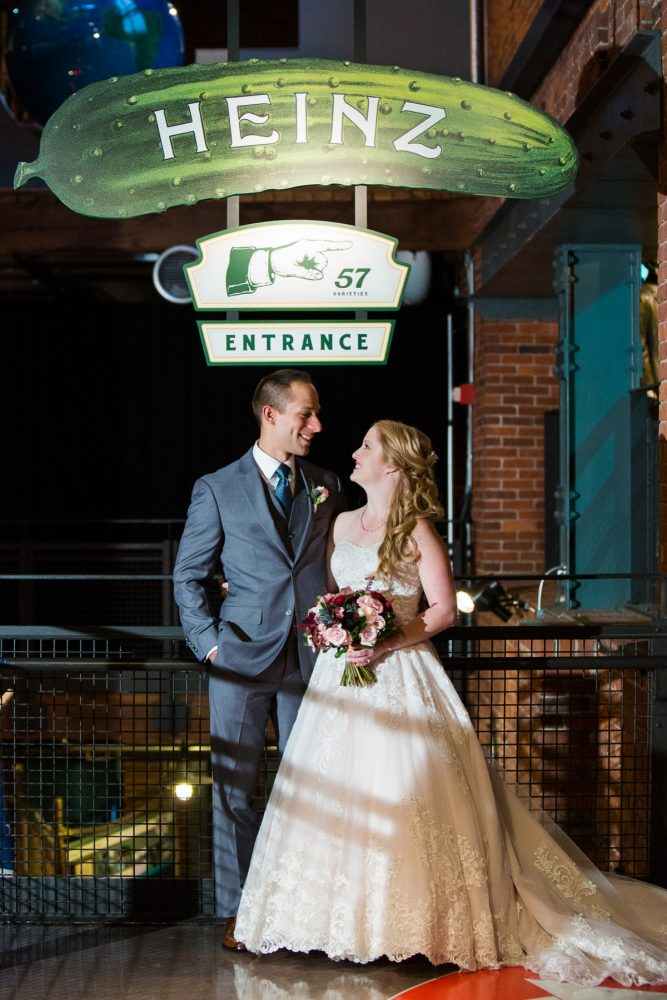 Bride and Groom at Heinz History Center: Lush Blue & Burgundy Wedding at the Heinz History Center from Christina Montemurro Photography featured on Burgh Brides