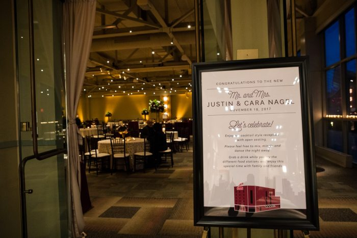 Wedding Welcome Sign featuring Pittsburgh Skyline: Lush Blue & Burgundy Wedding at the Heinz History Center from Christina Montemurro Photography featured on Burgh Brides