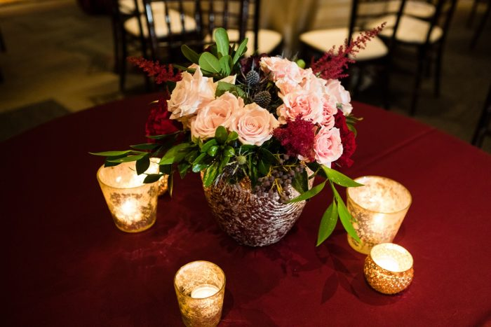 Blush, Burgundy, Blue, and Green Wedding Centerpiece on Burgundy Linens: Lush Blue & Burgundy Wedding at the Heinz History Center from Christina Montemurro Photography featured on Burgh Brides