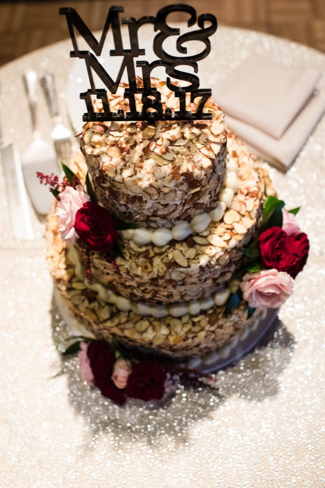 Prantl's Burnt Almond Torte Wedding Cake: Lush Blue & Burgundy Wedding at the Heinz History Center from Christina Montemurro Photography featured on Burgh Brides