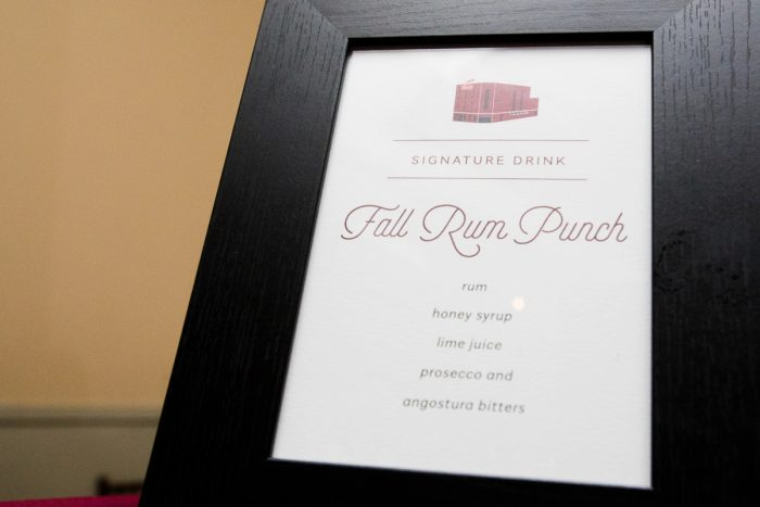 Rum Punch Wedding Signature Drink Sign: Lush Blue & Burgundy Wedding at the Heinz History Center from Christina Montemurro Photography featured on Burgh Brides