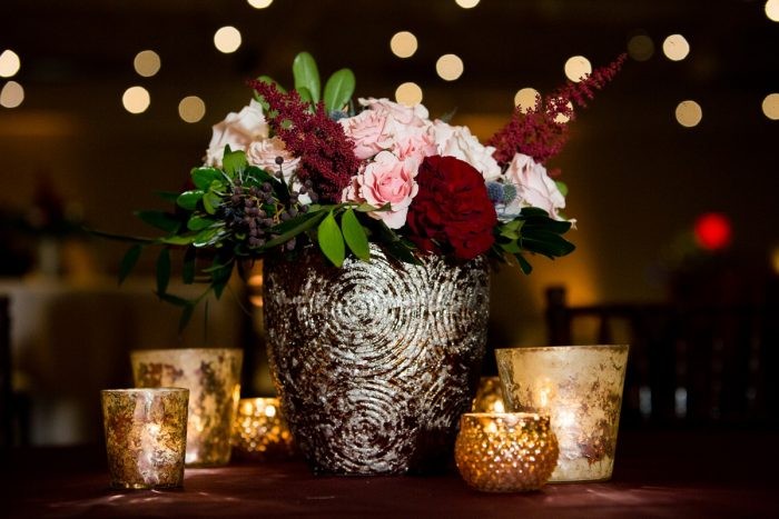 Blush, Burgundy, Green, and Blue Wedding Flowers in Gold Vase: Lush Blue & Burgundy Wedding at the Heinz History Center from Christina Montemurro Photography featured on Burgh Brides