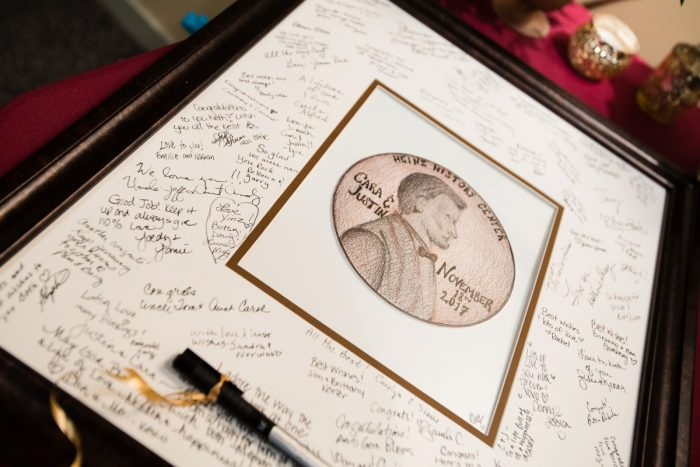 Wedding Guest Book Framed Photo: Lush Blue & Burgundy Wedding at the Heinz History Center from Christina Montemurro Photography featured on Burgh Brides