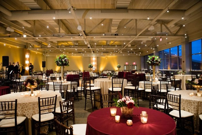 Wedding Reception at Heinz History Center: Lush Blue & Burgundy Wedding at the Heinz History Center from Christina Montemurro Photography featured on Burgh Brides