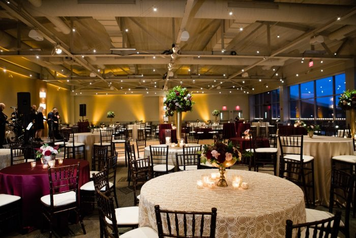 Wedding Reception at the Heinz History Center: Lush Blue & Burgundy Wedding at the Heinz History Center from Christina Montemurro Photography featured on Burgh Brides