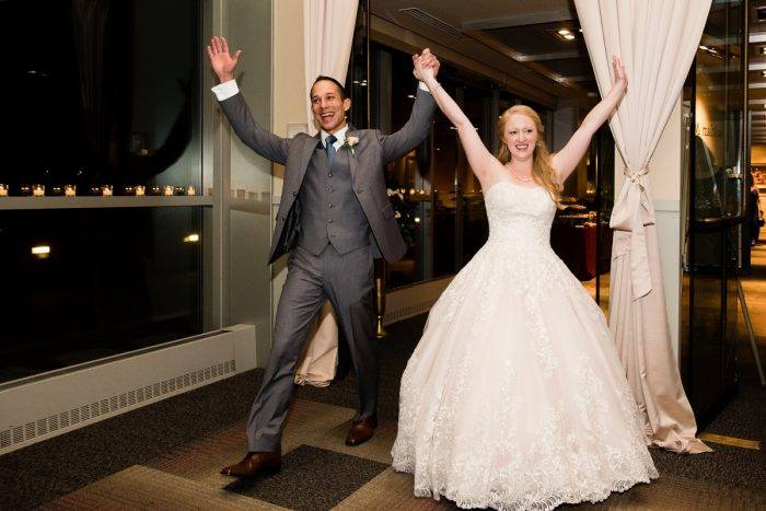 Bride and Groom Reception Entrance: Lush Blue & Burgundy Wedding at the Heinz History Center from Christina Montemurro Photography featured on Burgh Brides