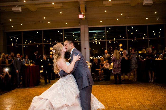 Bride and Groom First Dance: Lush Blue & Burgundy Wedding at the Heinz History Center from Christina Montemurro Photography featured on Burgh Brides