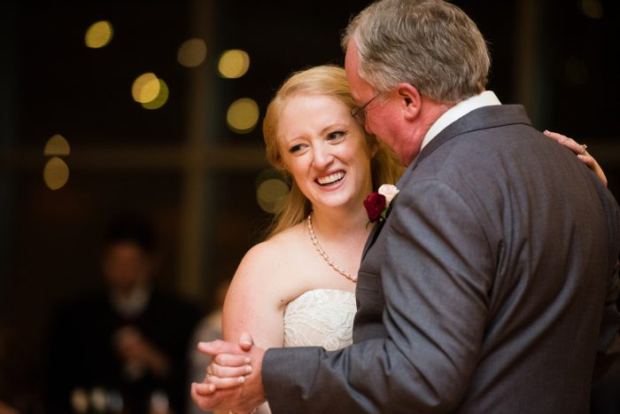 Bride and Father of the Bride Dance: Lush Blue & Burgundy Wedding at the Heinz History Center from Christina Montemurro Photography featured on Burgh Brides