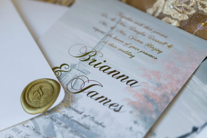 Eiffel Tower Wedding Invitations with Gold Wax Seal: Parisian Inspired Wedding at the LeMont from Kristen Wynn Photography featured on Burgh Brides