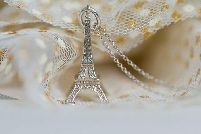Eiffel Tower Charm Necklace Bridal Jewelry: Parisian Inspired Wedding at the LeMont from Kristen Wynn Photography featured on Burgh Brides