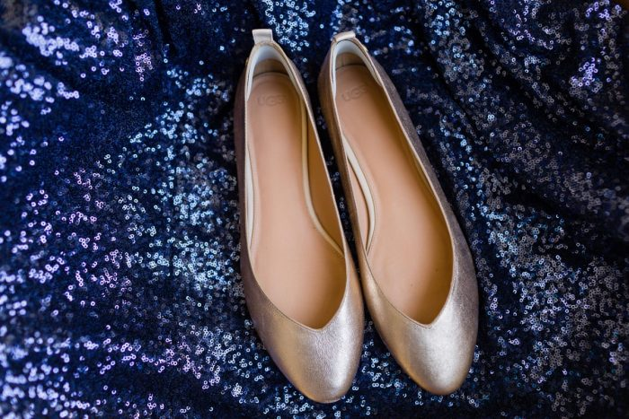 Gold Ballet Flats Wedding Shoes on Blue Sequin Linen: Parisian Inspired Wedding at the LeMont from Kristen Wynn Photography featured on Burgh Brides