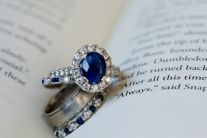Round Sapphire Engagement Ring with Halo Diamond Setting: Parisian Inspired Wedding at the LeMont from Kristen Wynn Photography featured on Burgh Brides