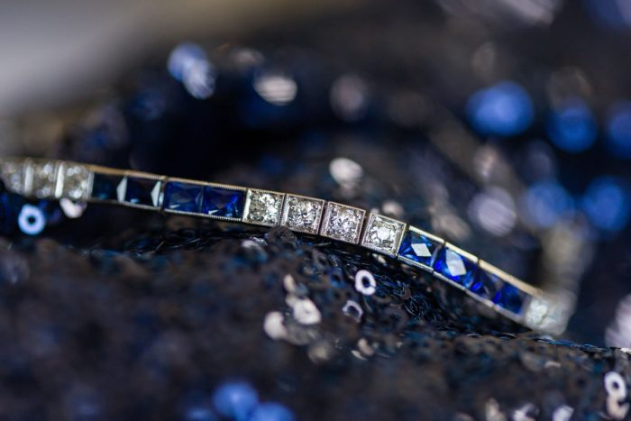 Sapphire and Diamond Bracelet Bridal Jewelry: Parisian Inspired Wedding at the LeMont from Kristen Wynn Photography featured on Burgh Brides