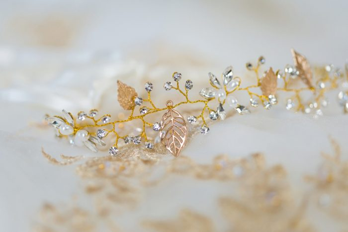 Gold Leaf and Rhinestone Bridal Hair Accessory: Parisian Inspired Wedding at the LeMont from Kristen Wynn Photography featured on Burgh Brides