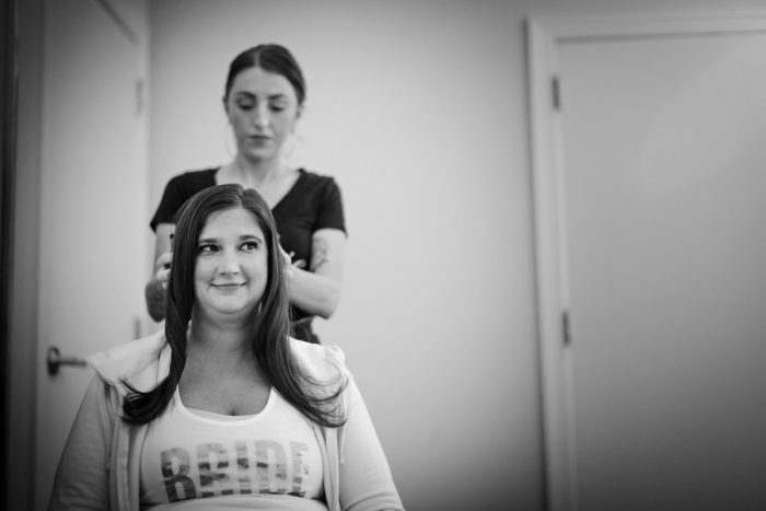 Bride Getting Hair Done on Wedding Morning: Parisian Inspired Wedding at the LeMont from Kristen Wynn Photography featured on Burgh Brides