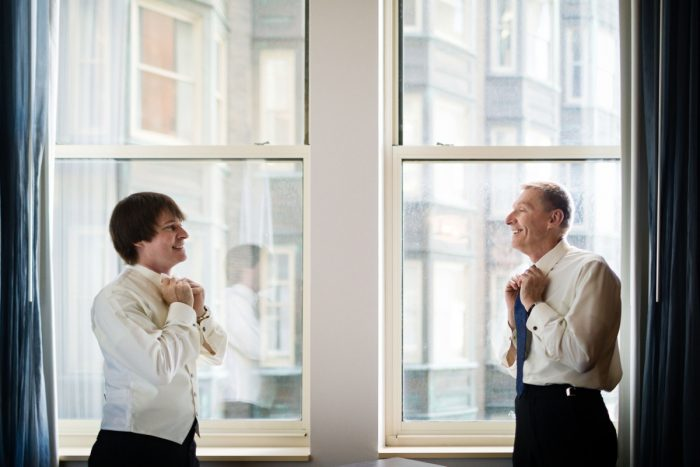 Groom and Father of Groom in Black and Ivory Tuxedos Getting Ready: Parisian Inspired Wedding at the LeMont from Kristen Wynn Photography featured on Burgh Brides