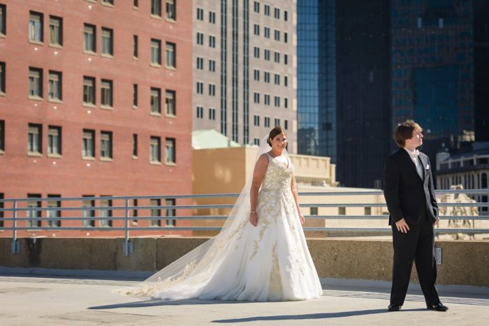 Bride and Groom First Look Session Pittsburgh Rooftop: Parisian Inspired Wedding at the LeMont from Kristen Wynn Photography featured on Burgh Brides
