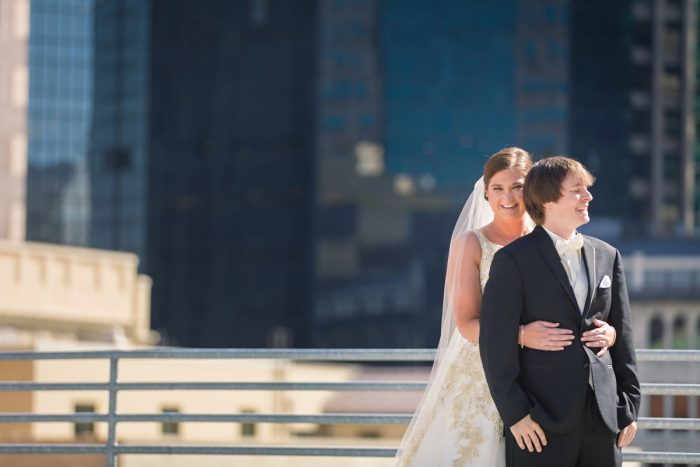 Bride and Groom Wedding Portraits Pittsburgh Rooftop: Parisian Inspired Wedding at the LeMont from Kristen Wynn Photography featured on Burgh Brides