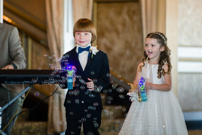 Flower Girl Ring Bearer Blowing Bubbles Down Aisle: Parisian Inspired Wedding at the LeMont from Kristen Wynn Photography featured on Burgh Brides