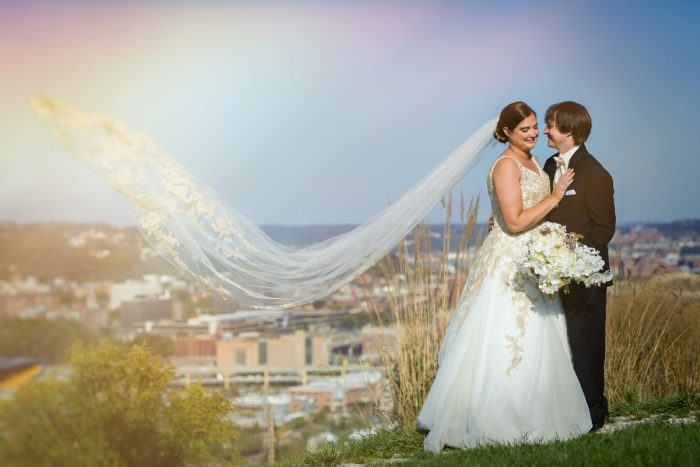 Bride and Groom Mt. Washington Veil in Wind: Parisian Inspired Wedding at the LeMont from Kristen Wynn Photography featured on Burgh Brides