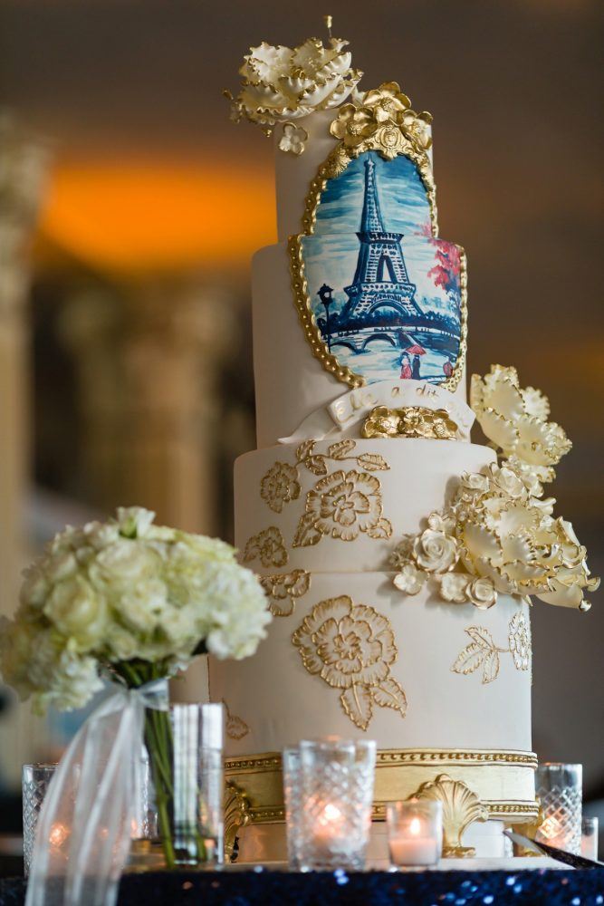 Wedding Cake with Eiffel Tower and Gold Sugar Flowers: Parisian Inspired Wedding at the LeMont from Kristen Wynn Photography featured on Burgh Brides