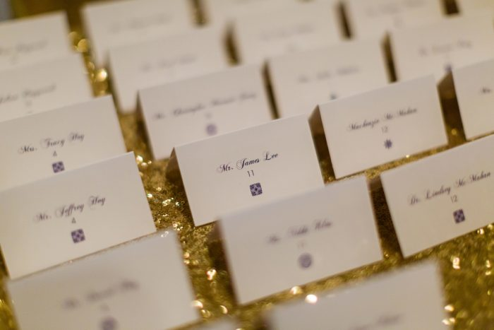 Ivory Wedding Escort Cards on Gold Sequin Linen: Parisian Inspired Wedding at the LeMont from Kristen Wynn Photography featured on Burgh Brides