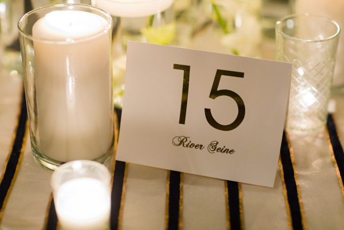 Gold Foil Table Numbers Named After Paris Sites: Parisian Inspired Wedding at the LeMont from Kristen Wynn Photography featured on Burgh Brides