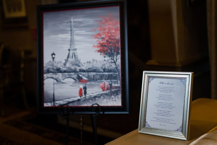 Drawing of Eiffel Tower Displayed at Wedding: Parisian Inspired Wedding at the LeMont from Kristen Wynn Photography featured on Burgh Brides