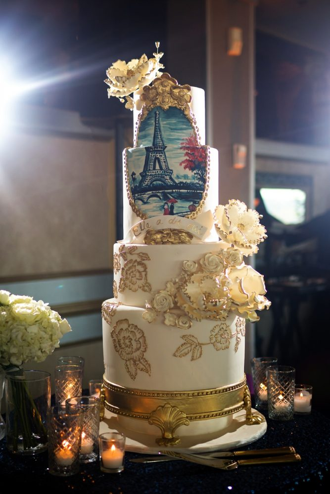 Four Tier Wedding Cake with Eiffel Tower and Gold Trimmed Sugar Flowers: Parisian Inspired Wedding at the LeMont from Kristen Wynn Photography featured on Burgh Brides
