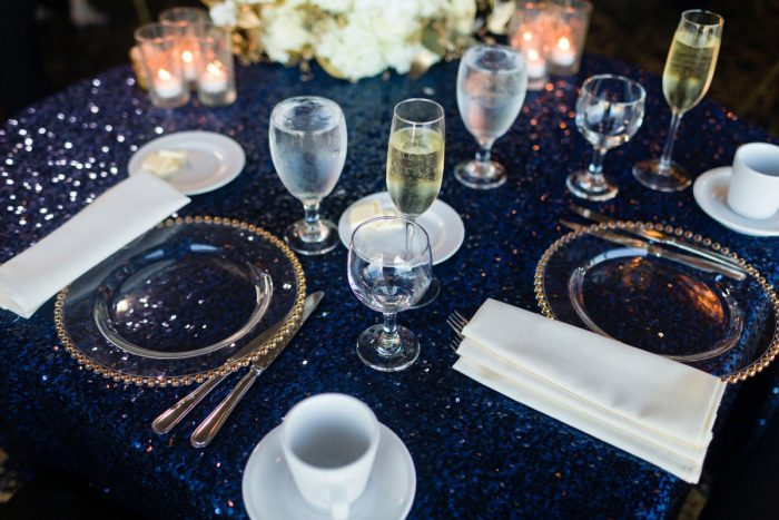 Blue Sequin Linens Clear Glass Gold Beaded Chargers: Parisian Inspired Wedding at the LeMont from Kristen Wynn Photography featured on Burgh Brides