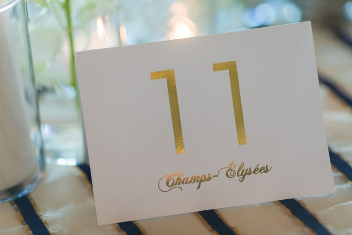 Gold Foil Wedding Table Numbers Named After Paris Sites: Parisian Inspired Wedding at the LeMont from Kristen Wynn Photography featured on Burgh Brides