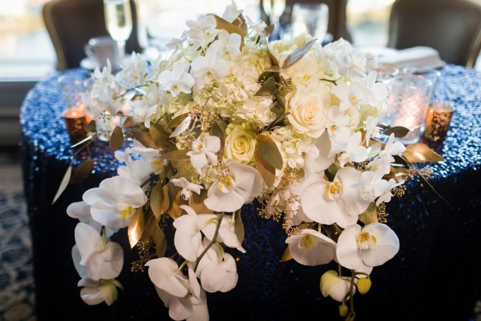 Sweetheart Table Flowers White Orchids and Roses: Parisian Inspired Wedding at the LeMont from Kristen Wynn Photography featured on Burgh Brides