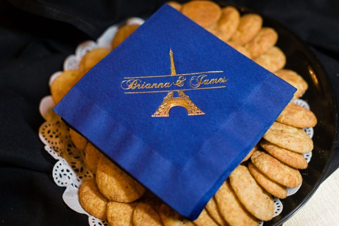 Blue and gold foil customized wedding napkins: Parisian Inspired Wedding at the LeMont from Kristen Wynn Photography featured on Burgh Brides