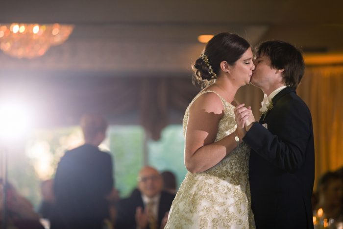 Bride and groom kissing during first dance: Parisian Inspired Wedding at the LeMont from Kristen Wynn Photography featured on Burgh Brides