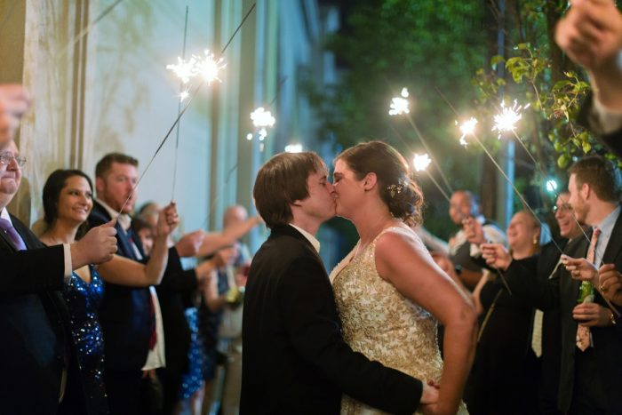 Bride and groom wedding sparkler exit: Parisian Inspired Wedding at the LeMont from Kristen Wynn Photography featured on Burgh Brides