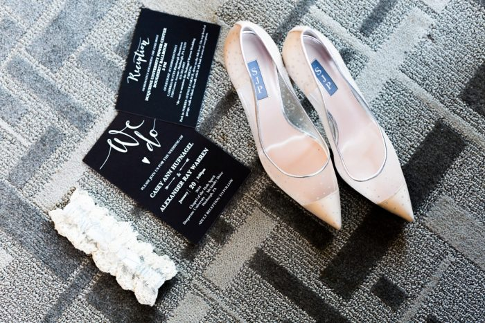Black and White Wedding Invitations and Nude Wedding Shoes: Warm & Romantic Winter Wedding at Duquesne from Loren DeMarco Photography featured on Burgh Brides
