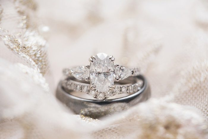Oval Shaped Diamond Engagement Ring: Warm & Romantic Winter Wedding at Duquesne from Loren DeMarco Photography featured on Burgh Brides