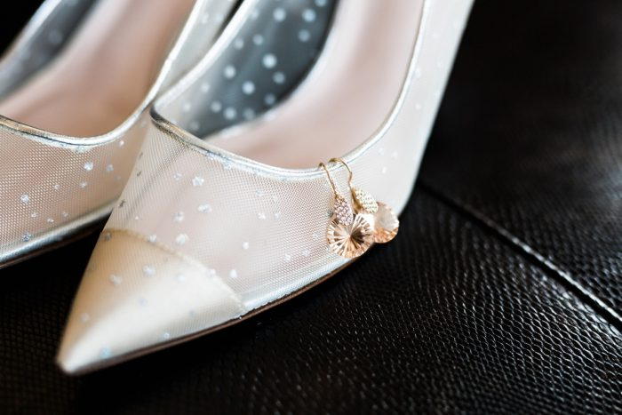 Rose Gold Wedding Earrings: Warm & Romantic Winter Wedding at Duquesne from Loren DeMarco Photography featured on Burgh Brides