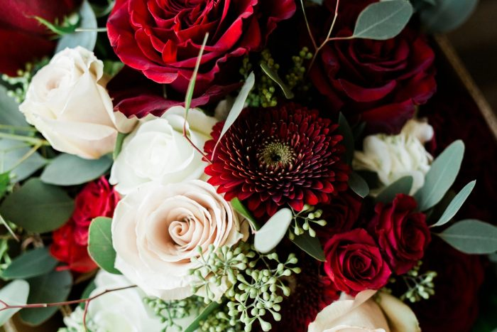 Red and White Wedding Flowers: Warm & Romantic Winter Wedding at Duquesne from Loren DeMarco Photography featured on Burgh Brides