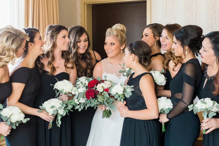 Bride with Bridesmaids in Black Bridesmaids Dresses: Warm & Romantic Winter Wedding at Duquesne from Loren DeMarco Photography featured on Burgh Brides